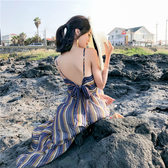 VK精品服飾 韓系露背豎條紋波浪紋雪紡顯瘦細肩帶無袖洋裝