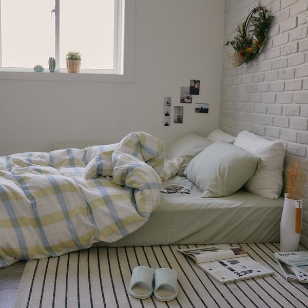 《預購》長絨棉 床包被套組(薄被套) 單人【萊姆格格 x 淺草綠】色織雙層紗 自由混搭 翔仔居家