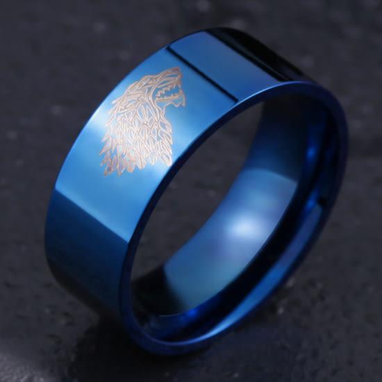 《 QBOX 》FASHION 飾品【R19N069】精緻個性歐美冰原狼族圖紋形鈦鋼戒指/戒環(三色)