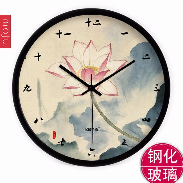 創意現代中式古典荷花掛鐘 客廳臥室大號靜音鐘錶石英鐘wy 快速出貨