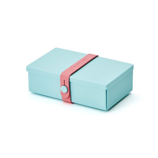 Uhmm Folding No.01 18x10cm 丹麥生活系列 環保折疊式 長方形 午餐盒 - 粉紅色束帶款(薄荷綠餐盒)