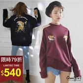 Qmigirl 韓國重工虎頭繡花撞色寬鬆T恤 上衣【WT2924】