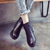 短靴秋冬季學生黑色圓頭高跟馬丁靴英倫風裸靴女鞋厚底粗跟短筒短靴潮 嬡孕哺