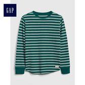 Gap男童 柔軟紋理感針織長袖圓領T恤 497425-寶石綠條紋