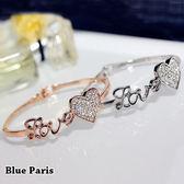手環 - 氣質LOVE字母鑽石愛心手鐲【21557】 藍色巴黎《2色》現貨