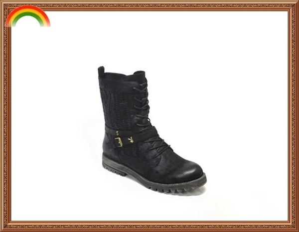 Y2765 PLAYBOY 個性皮帶設計 時尚舒適好走 低跟短靴/低跟中筒靴(原廠正品)
