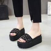 現貨出清-新款厚底拖鞋女坡跟高跟涼拖鞋韓版百搭時尚5-2爾碩數位