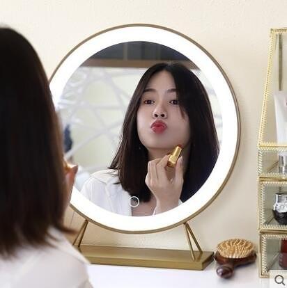 化妝鏡台式led燈補光梳妝鏡桌面大號網紅鏡子帶燈ins發光歐式複古