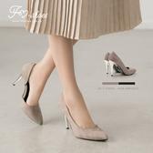跟鞋.奢華法式絨側挖空金屬跟高跟鞋-FM時尚美鞋-JJ.firefly