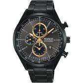 WIRED 關鍵時刻三眼計時手錶-灰x鍍黑/41mm 7T92-0SM0SD(AY8016X1)