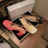 馬銜扣高跟鞋女法式瑪麗珍女鞋復古粗跟涼鞋中跟單鞋【貼身日記】