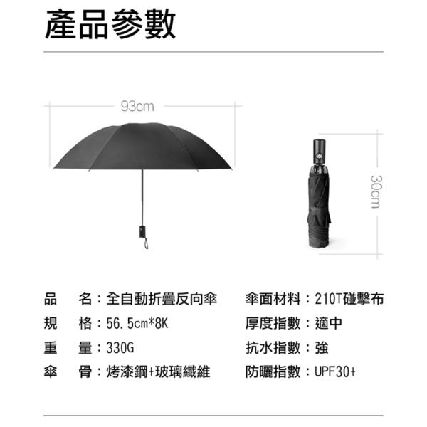 攝彩@全自動折疊反向傘 8傘骨 摺疊式伸縮 抗風防潑水 好攜帶堅固耐用 車內包包不沾濕 全新