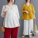 大尺碼女裝棉麻文藝復古盤扣褶皺娃娃款上衣 寬鬆休閒麻料襯衫女 萬聖節鉅惠