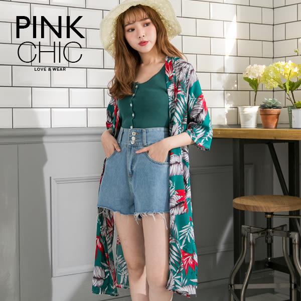 外套 樹葉花朵長版防曬罩衫薄外套 - PINK CHIC - 626281