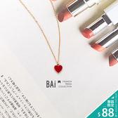 項鍊 金邊紅色愛心吊墜金屬短鍊-BAi白媽媽【150238】