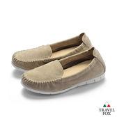 TRAVEL FOX(女) 360度舒適休閒懶人鞋-卡其