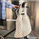 新款手工編織沙灘縷空草編包造型手提側背包 黛尼時尚精品