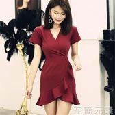 洋裝性感夜店女裝氣質V領低胸收腰顯瘦不規則荷葉邊魚尾洋裝女 至簡元素