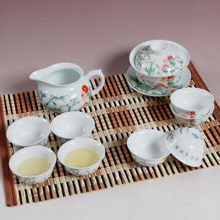 10頭青花瓷大蓋碗整功夫套茶具套裝 清風竹林