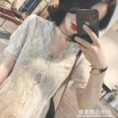2019夏裝新款v領高腰蕾絲連身裙女夏季顯瘦氣質超仙冷淡風a字裙子