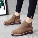 新品短靴女秋冬厚底低跟韓版女鞋短靴皮帶扣馬丁靴學生絨面淑女靴子 芊墨左岸