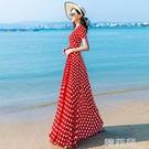 沙灘洋裝 夏季流行雪紡裙子紅色波點連身裙女長款復古赫本風沙灘長裙潮 韓菲兒