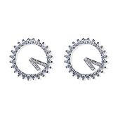 耳環 925純銀鑲鑽-耀眼迷人生日情人節禮物女耳針73gt185[時尚巴黎]
