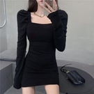 長袖洋裝 緊身打底連身裙女秋冬法式方領收腰內搭短裙長袖包臀裙子-Ballet朵朵