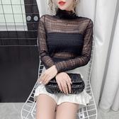 滿千免運~長袖T恤~5018#洋氣時尚網紗打底衫女復古修身內搭小衫蕾絲上衣DC249A莎菲娜