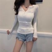 秋裝新款chic單排扣圓領修身顯瘦簡約T恤時尚百搭純色長袖上衣女