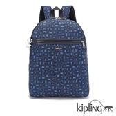 Kipling 經典猴紋藍色印花後背包-大