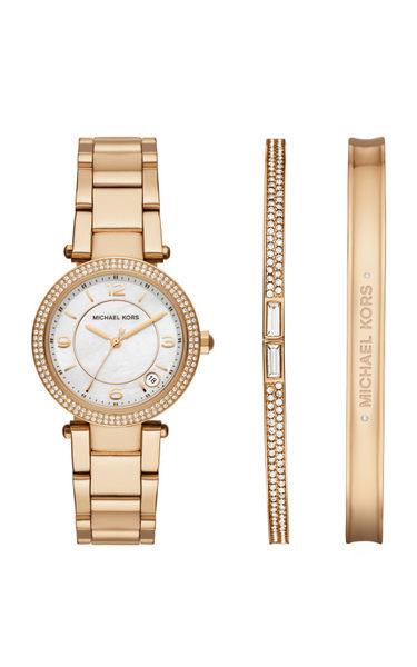 【時間道】【MICHAEL KORS】手環禮盒組系列帶錶/白蝶貝面鑽框金鋼 (MK3505)免運費