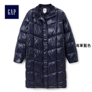 Gap女裝 簡約舒適光面中長款長袖棉衣 396985-海軍藍色