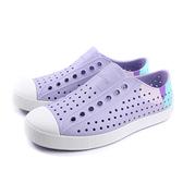native JEFFERSON BLOCK 休閒鞋 洞洞鞋 粉紫色 藍腳跟 男女鞋 11100102-8389 no927
