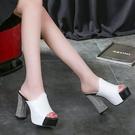 2020夏季新款韓版時尚超高跟粗跟拖鞋防水臺魚嘴鞋涼拖厚底一字女 KV7235 【歐爸生活館】