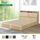IHouse-長島 插座床頭、基本款床底 二件組 雙大6尺雪松