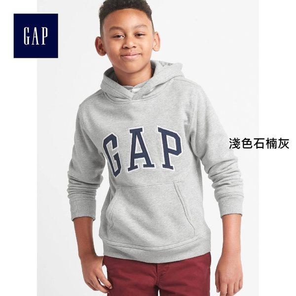 Gap男童 LOGO兒童連帽休閒上衣 大童柔軟彈力加絨外套童裝 869631