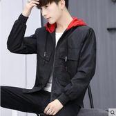 2019春季新款外套男韓版潮流修身帥氣連帽夾克衣服男士上衣服學生『艾麗花園』