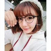 現貨-優質韓版新款獨特花色半框眼鏡框女圓臉個性平光鏡框架男士潮近視眼鏡40