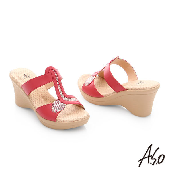 A.S.O 挺麗氣墊 全真皮寬楦圖騰氣墊楔型涼拖鞋  桃粉紅