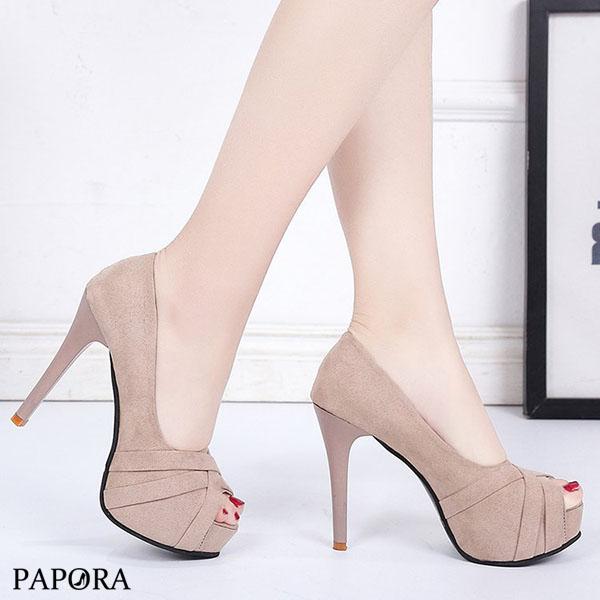 PAPORA魚口厚底絨面高跟涼鞋高跟鞋KQ572黑/米