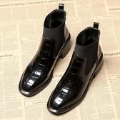 短靴女 春秋單靴子新款冬百搭中跟馬丁靴英倫風粗跟高跟及踝靴