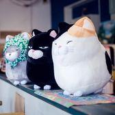 可愛福氣貓咪抱枕貓頭靠墊汽車辦公室沙發床頭靠枕靠背墊護腰腰枕
