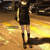 洋裝短袖洋裝女夏季新款厭世喪繫裙子收腰修身氣質包臀裙小黑裙 暖心生活館