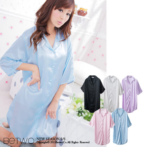 彼兔 betwo絲綢睡衣 OHB*甜美寬鬆版型襯衫式絲綢睡衣【70-AC44】11110100