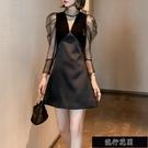 氣場宴會黑色小禮服秋裝新款設計感蕾絲性感洋裝顯瘦小黑裙【全館免運】