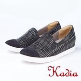 kadia.英倫風 經典格子紋休閒鞋(8525-95黑色)