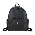 【南紡購物中心】COACH 前口袋雙層拉鍊皮革後背包(中/黑)