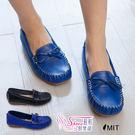 包鞋.台灣製MIT 牛皮蝴蝶結莫辛卡縫線平底娃娃鞋.2色 藍/黑【鞋鞋俱樂部】【208-916407】