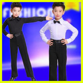 全館83折長袖男童拉丁舞服裝春夏兒童舞蹈服少兒拉丁舞比賽服裝練功服男孩